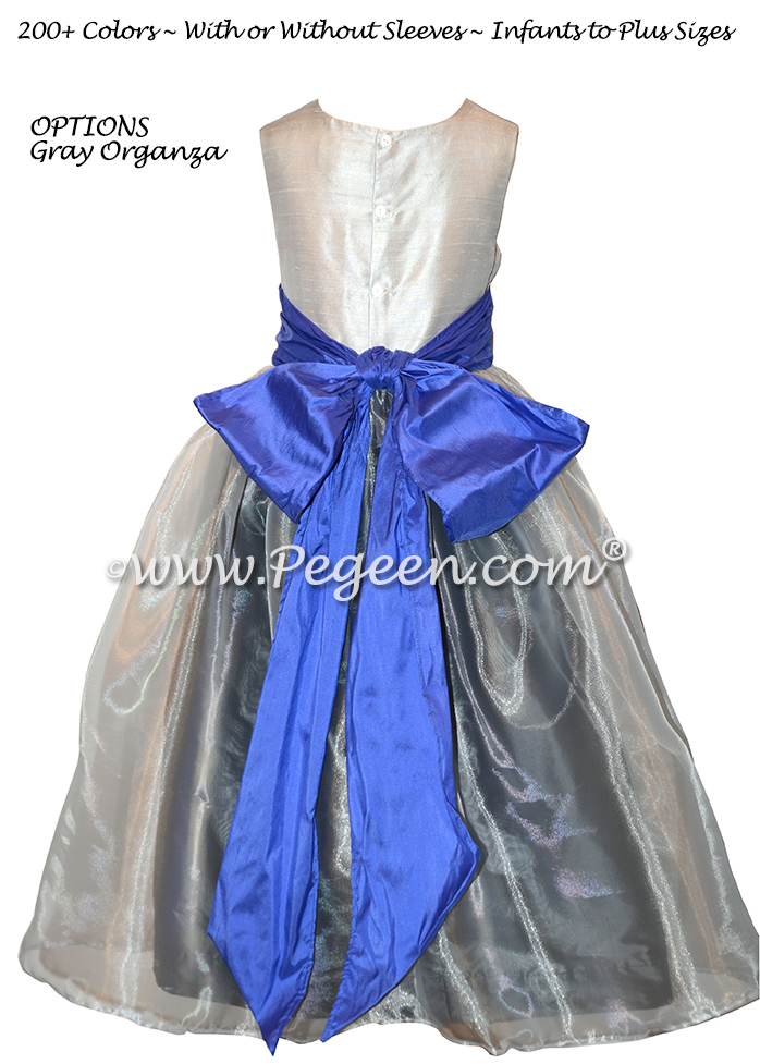 Blueberry and gray silk and organza flower girl dresses