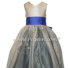 Platinum, medium gray and blueberry Silk and Organza Flower Girl Dresses Style 301