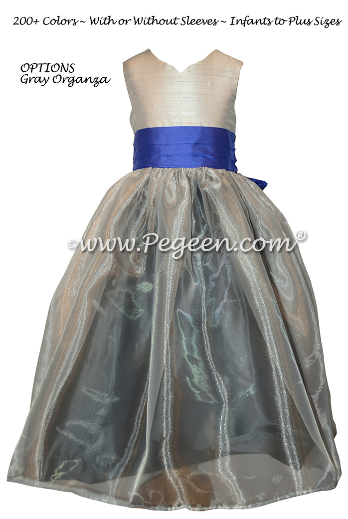 Platinum, medium gray and blueberry Silk and Organza Flower Girl Dresses