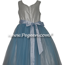 Platinum and Cloud Blue Tulle and Silk Flower Girl Dresses