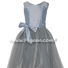 Medium Gray and Cloud Blue Silk and Tulle flower girl dressses