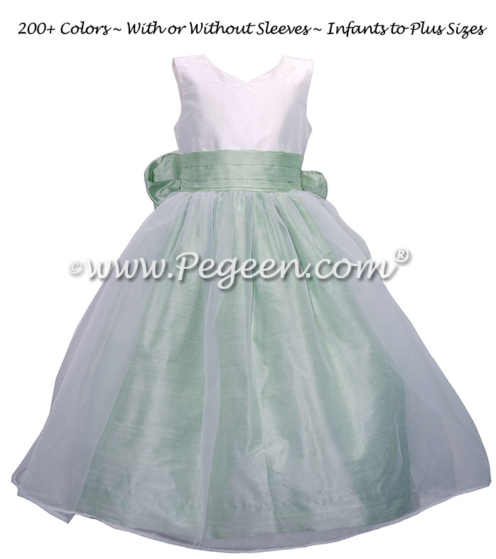 Spring Green and White custom silk flower girl dresses