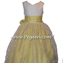 Yellow and White Silk and Organza Flower Girl Dresses