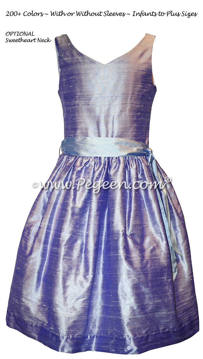 Lilac and Wisteria Silk Jr. Bridesmaids dress Style 302