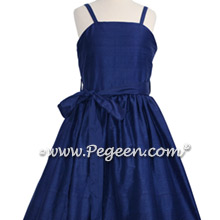 Navy Blue Jr Bridesmaids Dress with Spagetti Straps