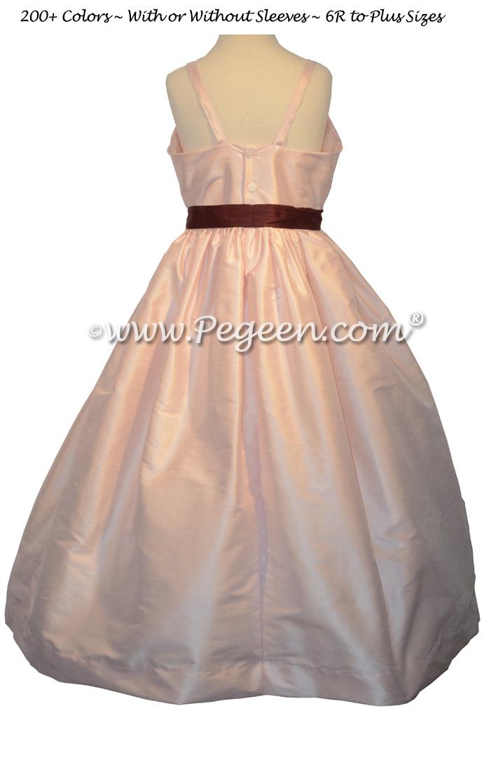 Peony Pink and Burgundy Jr Bridesmaids Dress