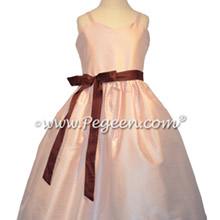 Peony Pink and Burgundy Jr Bridesmaids Dress