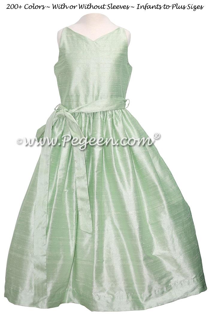 Spring Green Silk Jr Bridesmaids Dress