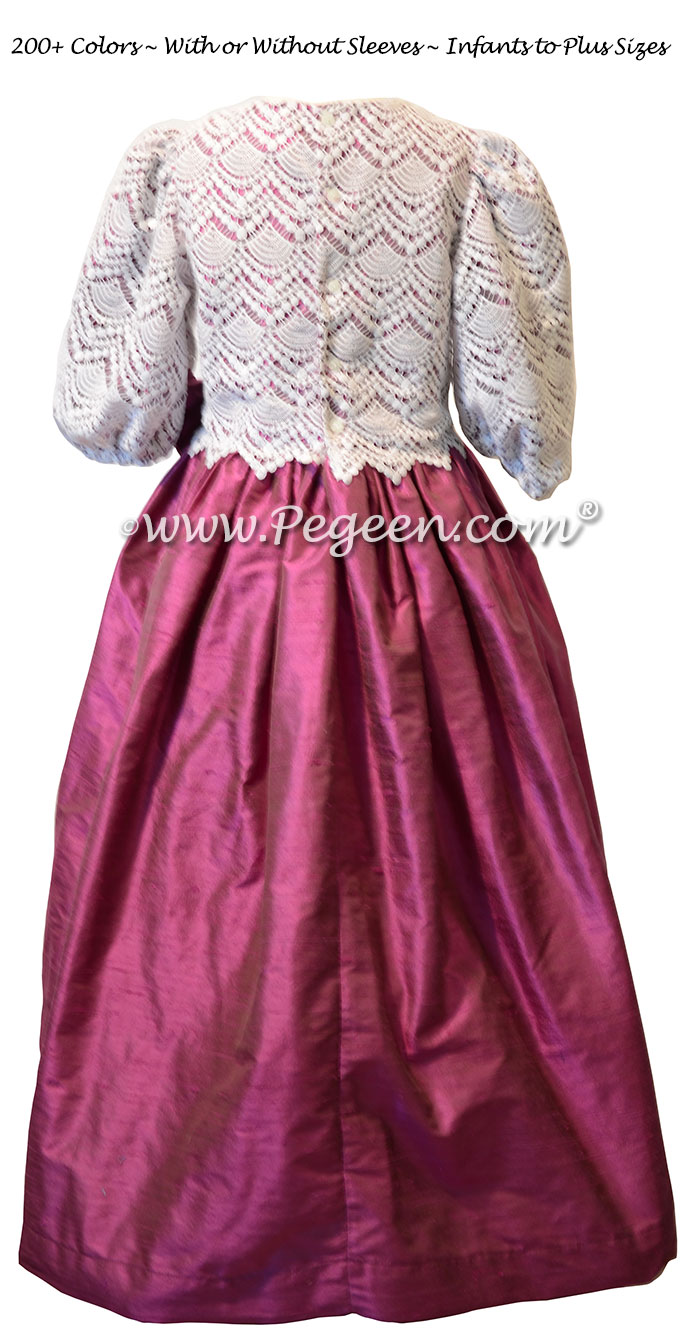 Thistle (purple) and Lace Custom Silk Flower Girl Dresses Style 308 with 3/4 Sleeves