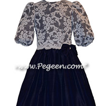 Midnight Blue Silk and Aloncon Lace Flower Girl Dresses