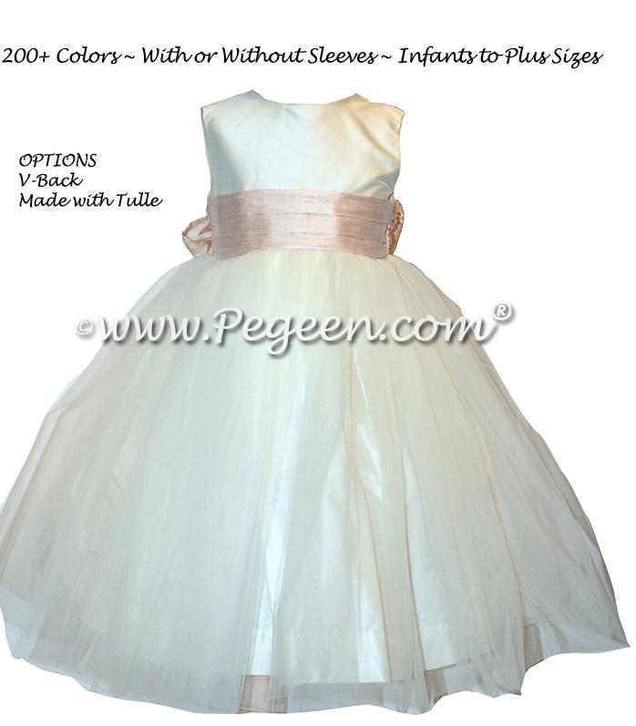 Ballet Pink Silk flower girl dresses - Style 313