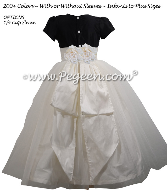 Black and Ivory Silk Flower Girl Dress with Back Roses