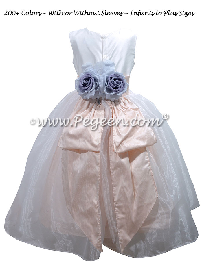 White and Blush Silk flower girl dress with blue back flowers