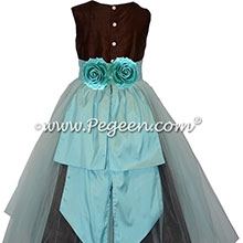 Brown and Bahama Breeze Blue Silk and Tulle Flower Girl Dress