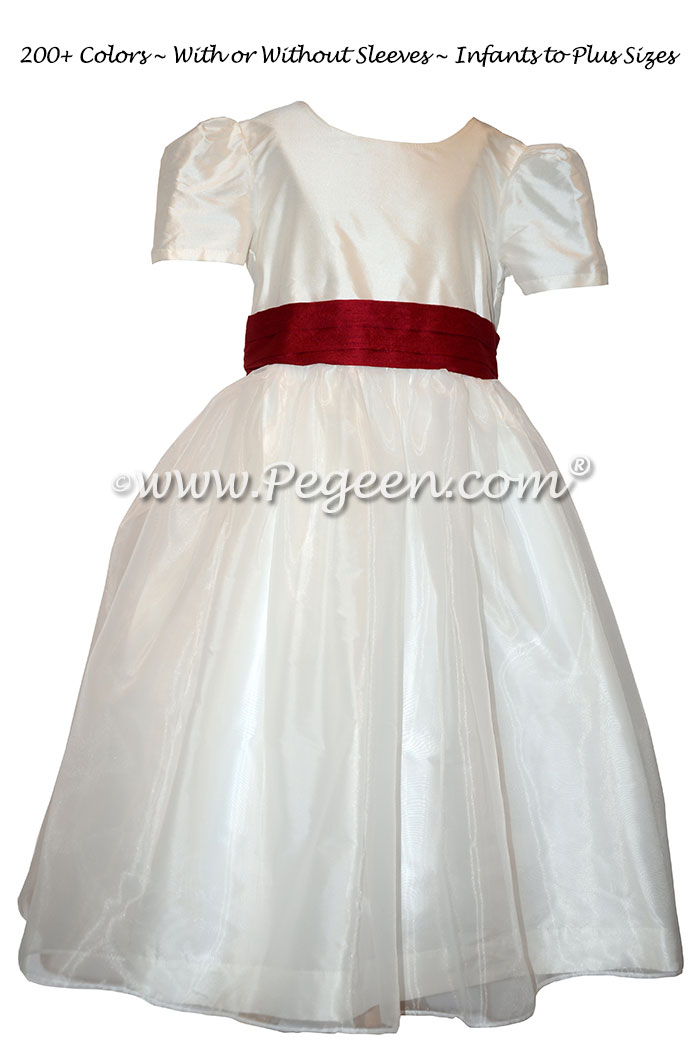 Cranberry Red and Antique White flower girl dress