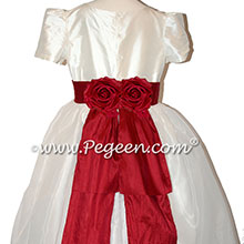 Cranberry and Ivory Silk and Organza flower girl dressses