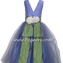Silk Flower Girl Dresses Style 313 in Periwinkle and Winter Green