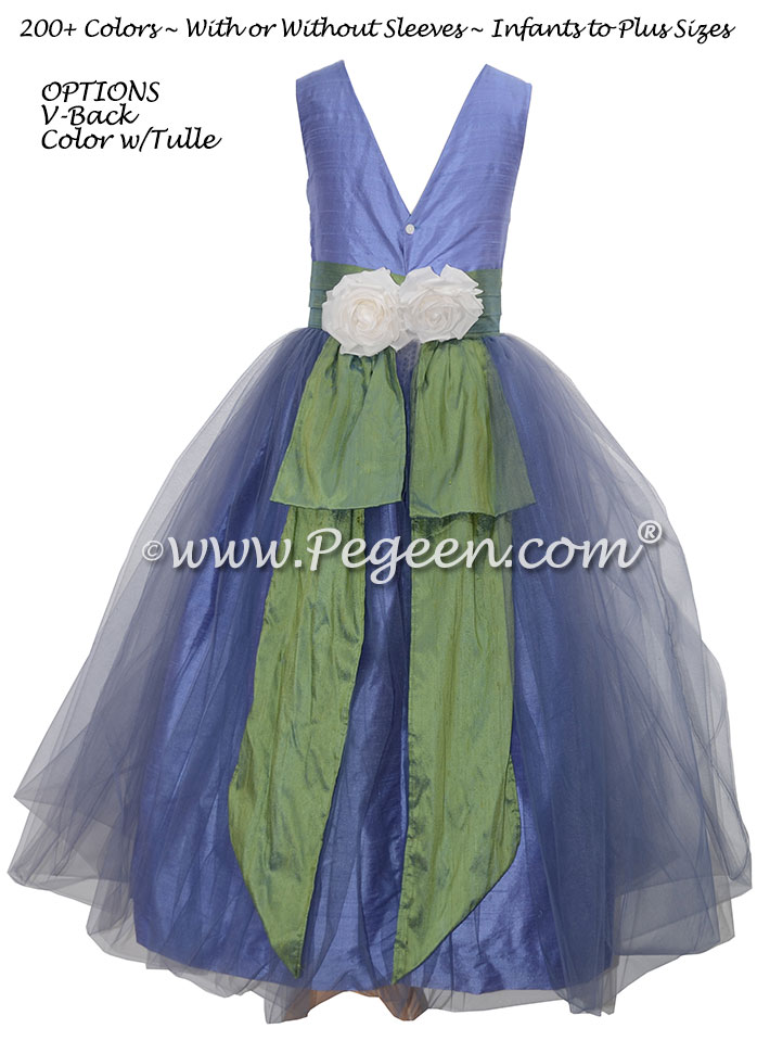 Silk Flower Girl Dresses Style 313 in Periwinkle and Winter Green | Pegeen