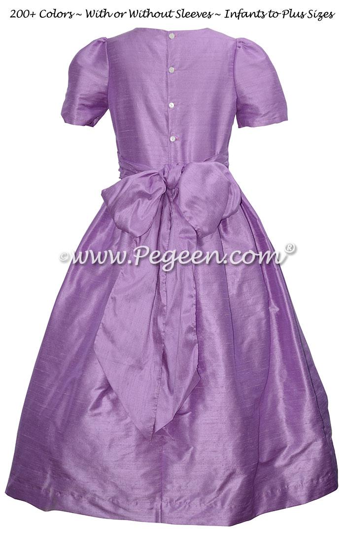 Amethyst (purple) custom silk flower girl dresses for Jr Bridesmaids