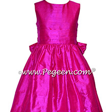Custom Hot Pink Silk flower girl dresses