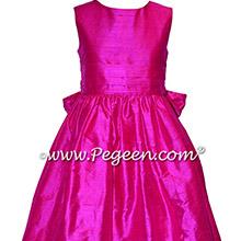 Custom Hot Pink Silk flower girl dresses