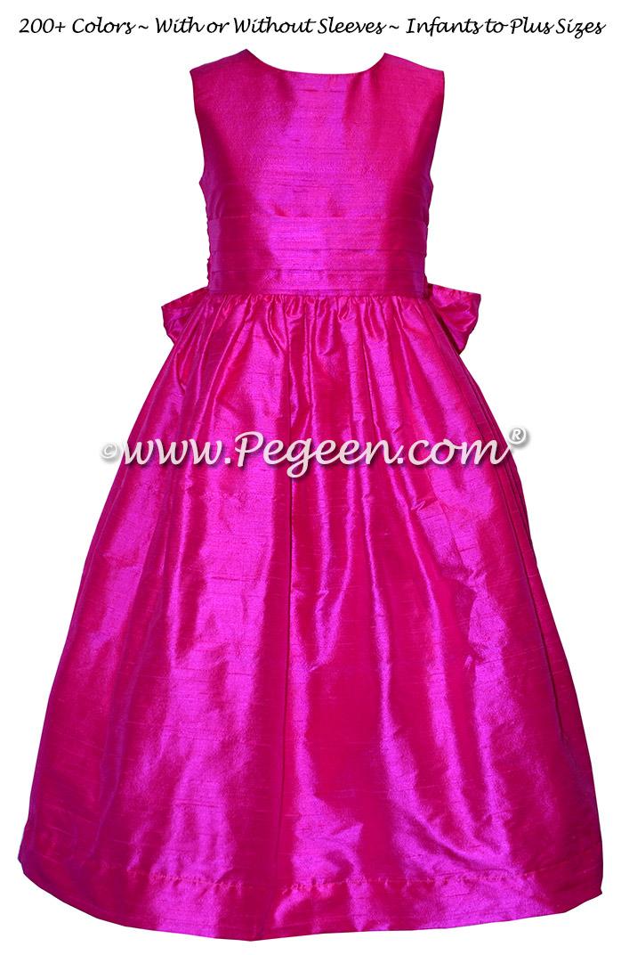 Custom Hot Pink Silk flower girl dresses - Style 318