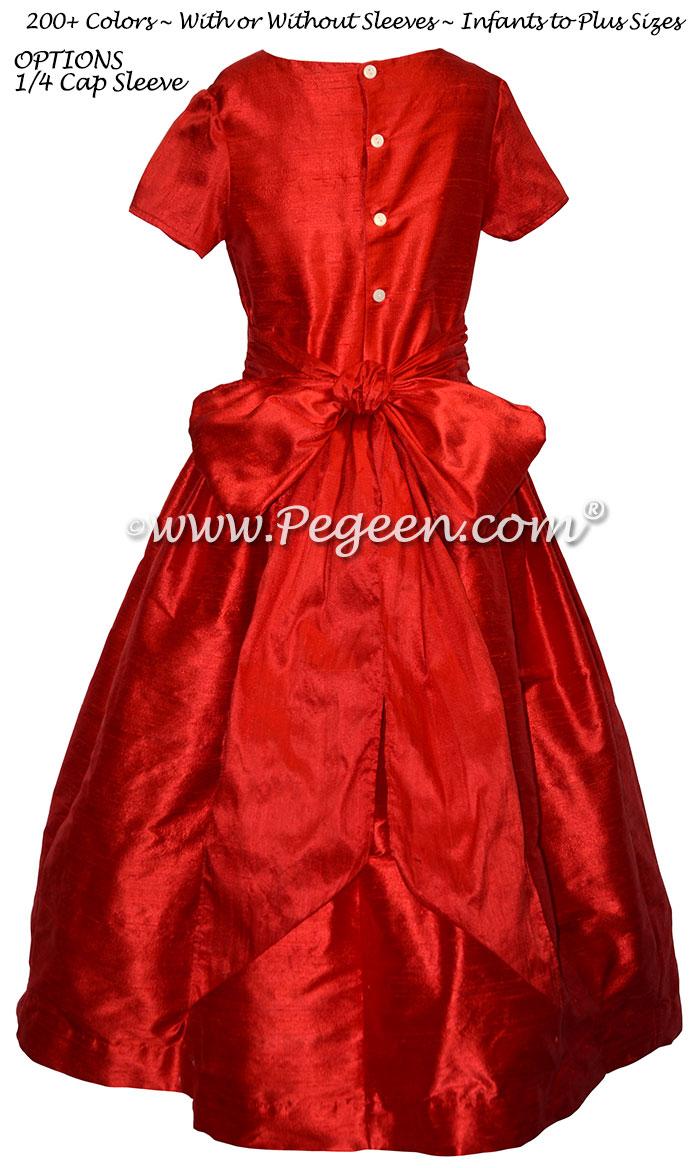 Christmas Red custom silk flower girl dresses for Jr Bridesmaids