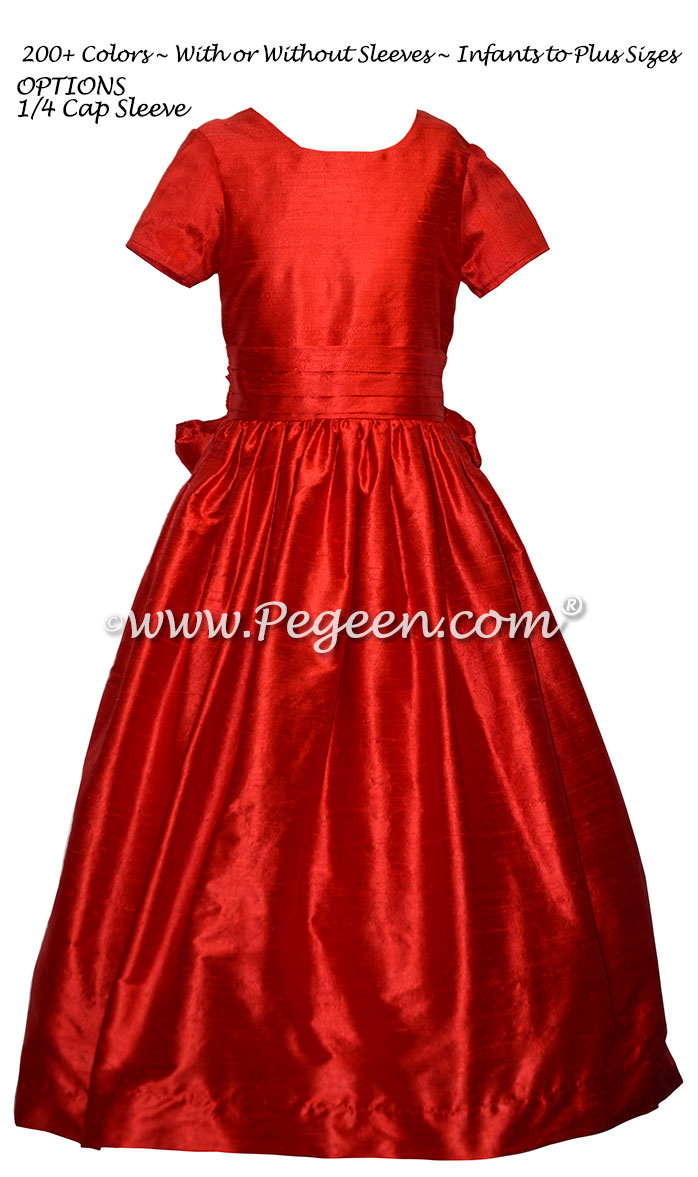 Christmas Red custom silk flower girl dresses for Jr Bridesmaids