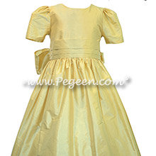 Yellow Silk flower girl dresses
