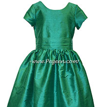 Shamrock green silk flower girl dress