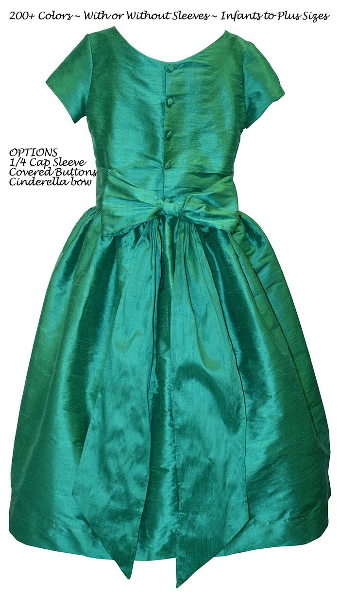 Shamrock green silk flower girl dress from Pegeen Classics Style 318