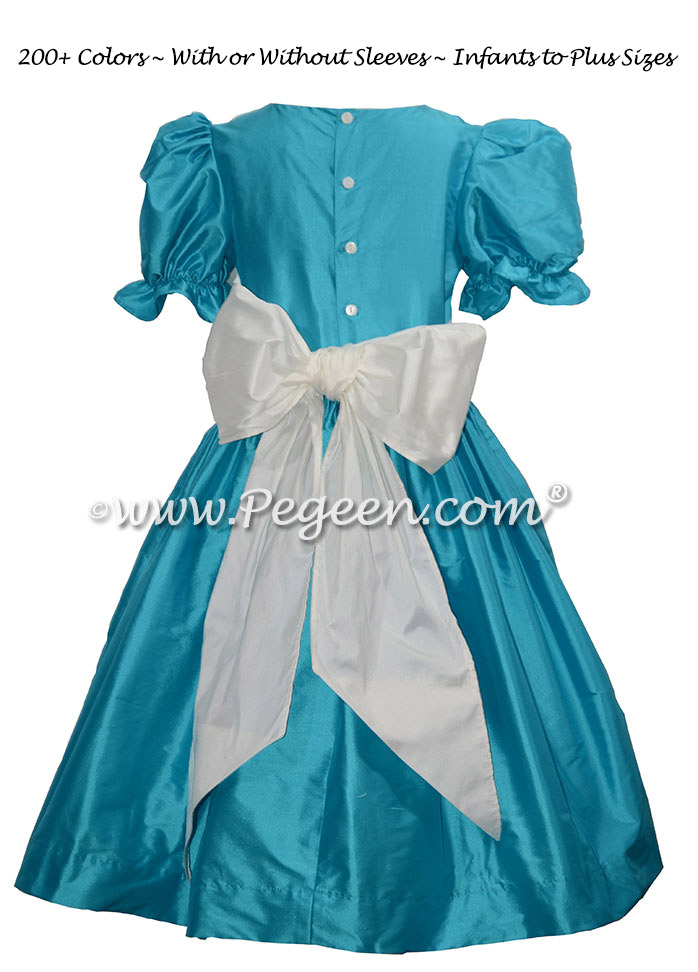 Bahama Breeze Teal and Antique White custom flower girl dresses
