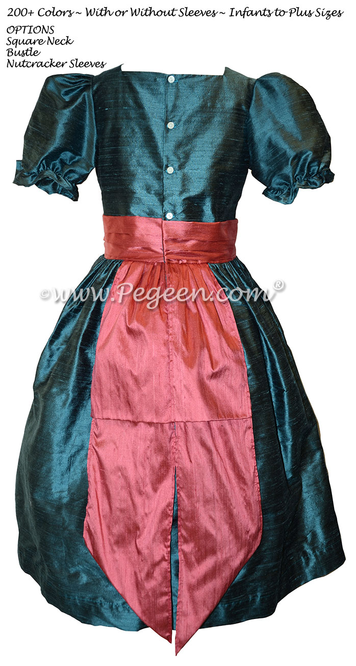 Nutcracker party scene costume or dress in arial blue and azalea pink silk