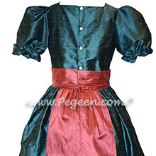 Nutcracker dress in arial blue and azalea pink silk