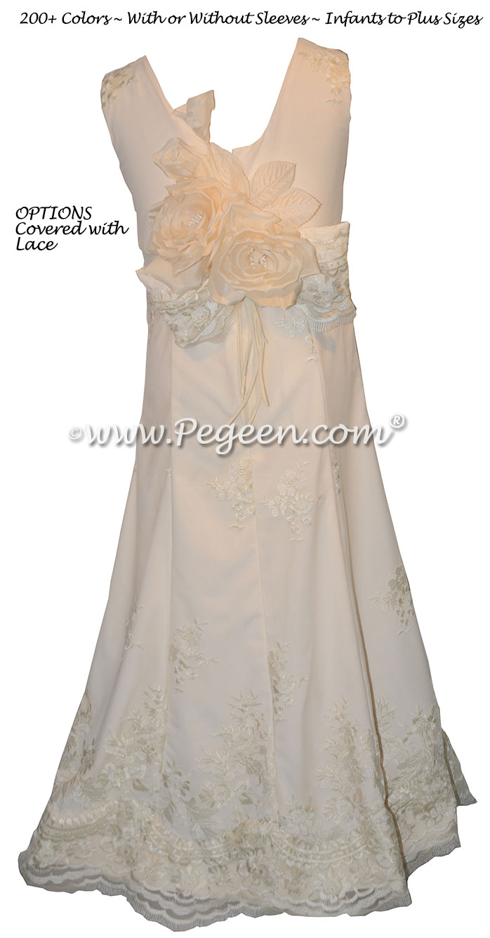 Jr Bridesmaids Dress style 320 New Ivory and Lace Covered Silk | Pegeen