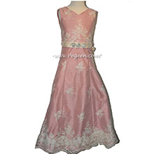 Lace Covered Rum Pink silk junior bridesmaids dresses - Style 320