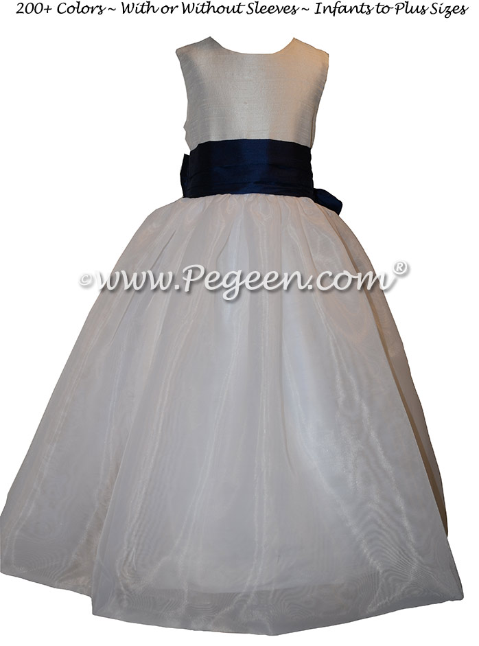Custom Antique White Silk and Navy Flower Girl Dress with organza skirt
