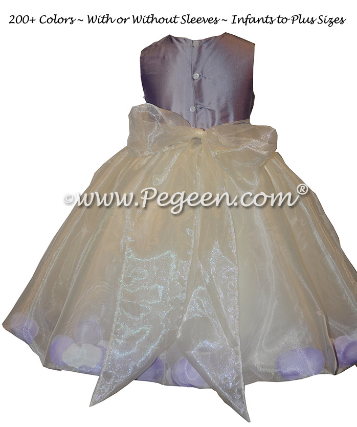 Custom Victorian and Ivory silk petal flower girl dress Style 331 with organza skirt