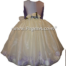 Victorian and Ivory silk petal flower girl dress Style 331 | Pegeen