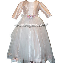 Ballet Pink Tulle and Silk flower girl dresses