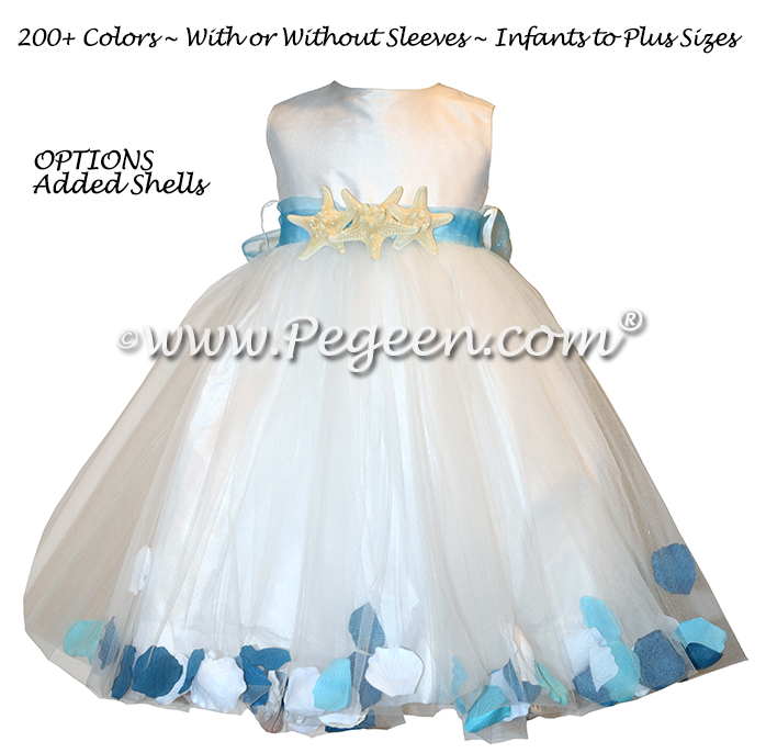 PARADISE AND GOLD METALLIC TULLE FLOWER GIRL DRESSES