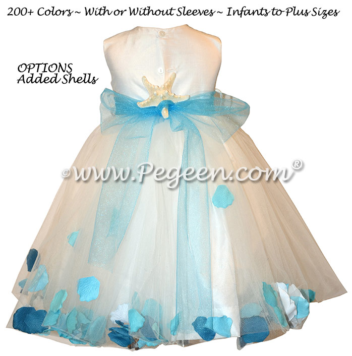 Teal Blue Beach Style with Sea Shells and Silk flower girl dresses