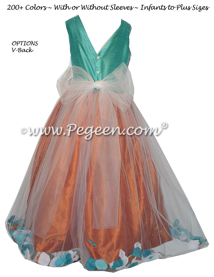 Paradise Blue and Tangerine Orange Silk flower girl dresses - Style 333
