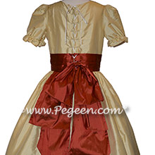 Nutcracker Party Scene Dress for Party Scene Dancers in Autumn and Gold