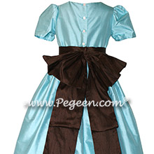 Aqua and brown custom silk flower girl dresses