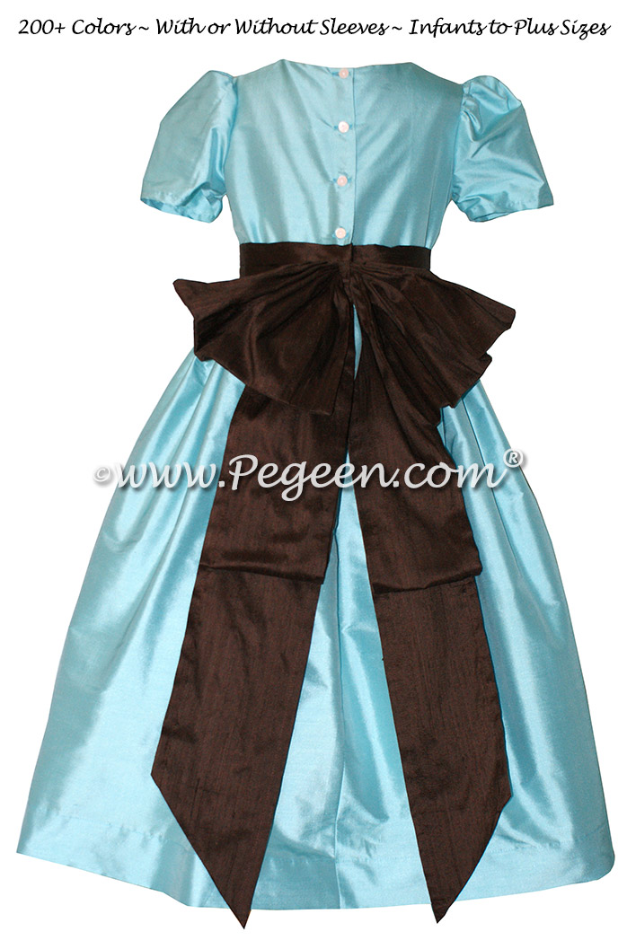 Bahama breeze and brown custom silk flower girl dresses - Style 345 | Pegeen