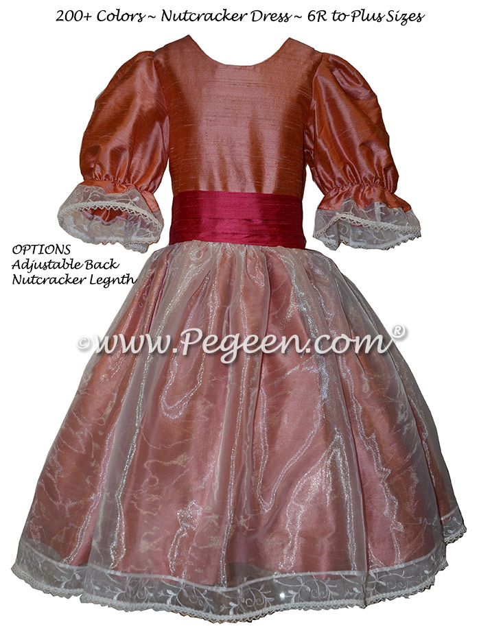 Nutcracker Party Scene Dress for Party Scene Dancers in Lipstick Pink and Coral Rose