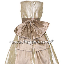 Custom Toffee and Antiqua Taupe Silk Flower Girl Dresses