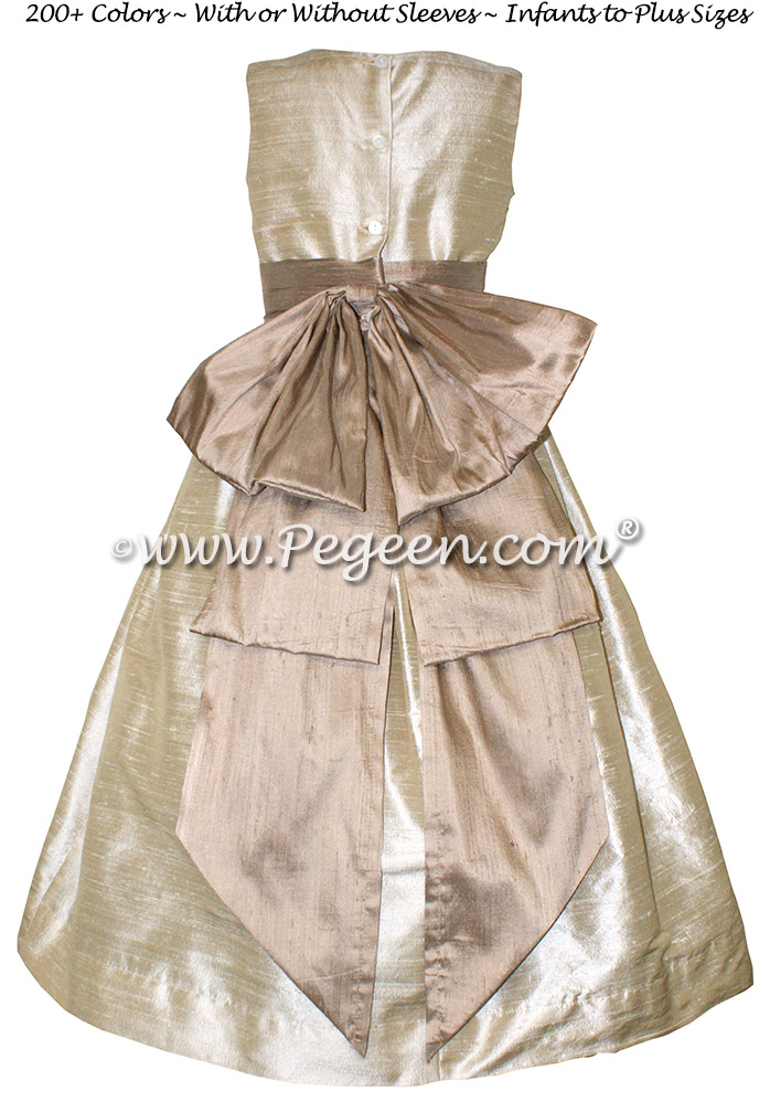Toffee Creme and Taupe Custom Silk flower girl dresses