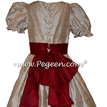 Nutcracker Party Scene Dress for Party Scene Dancers in Toffee and Cranberry Red